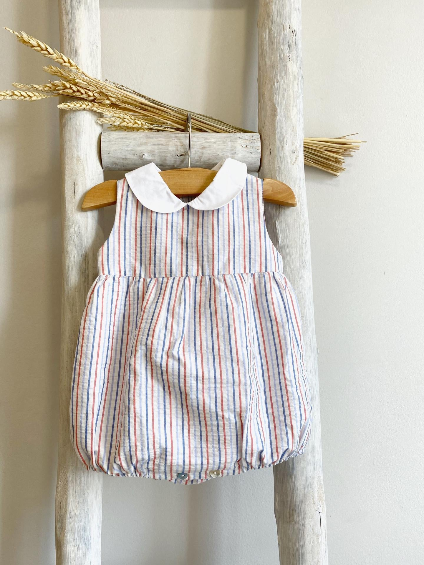 Pukatuka Blue and Red Striped Romper