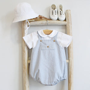 Pukatuka Grey Stripes Baby Boy Romper