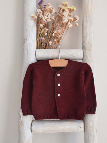 Pukatuka Knitted Cardigan- bordeaux, baby blue, white, navy