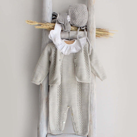 Pukatuka Knitted Overalls- Gray, Baby Pink, Baby Blue