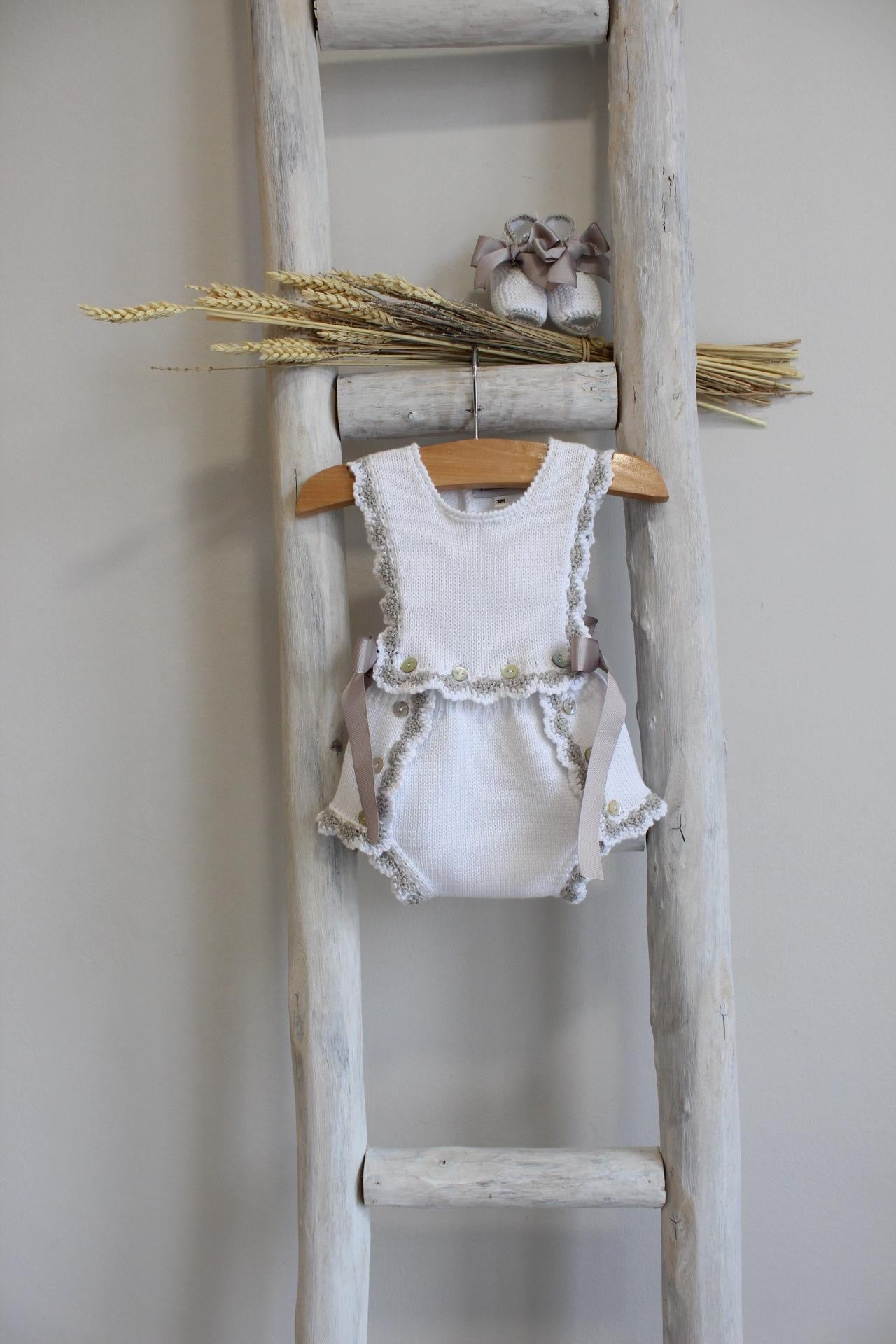 Pukatuka Grey and White Organic Cotton Romper
