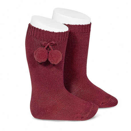 Condor Pom Pom Knee Socks-Burgundy