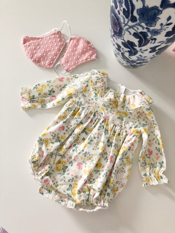 Pukatuka yellow floral romper, bloomer set & dress