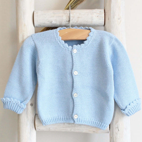 Pukatuka Blue Scallop Knit Cardigan