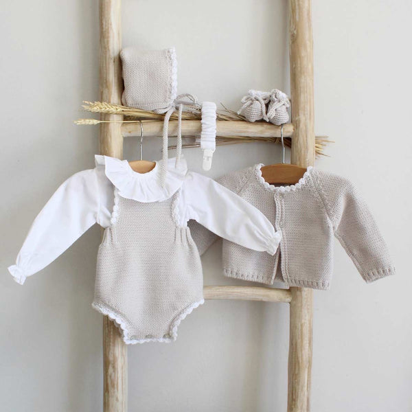 Pukatuka organic cotton Gray knit romper