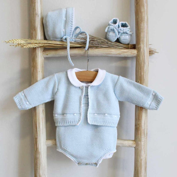 Pukatuka Blue Dot Knit Romper