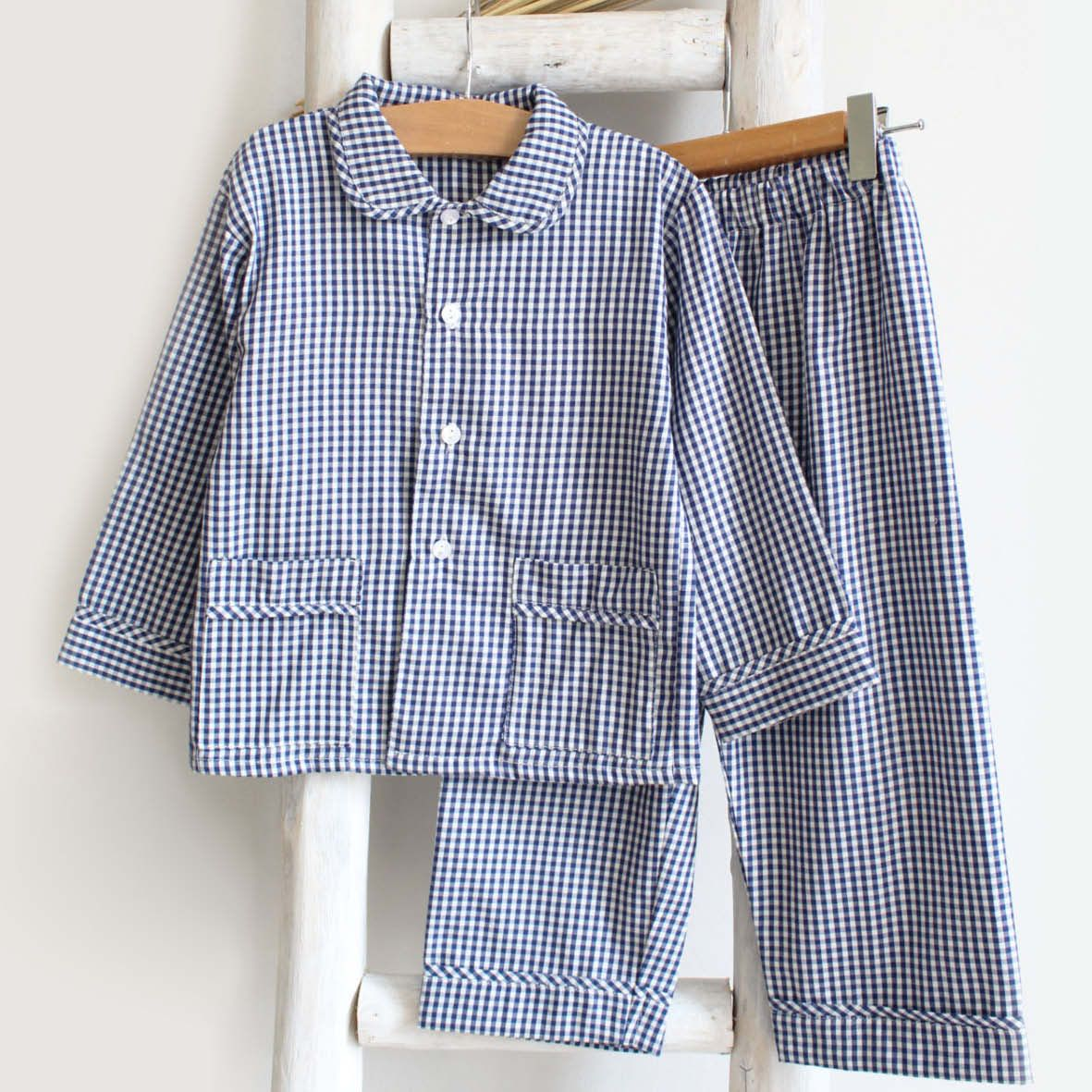 Pukatuka Navy Gingham Boys Pajamas