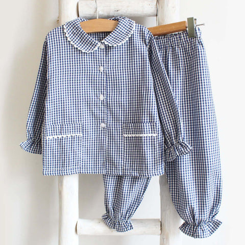 Pukatuka Navy Gingham Girls Pajamas
