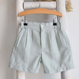 Pukatuka Green Linen Shorts