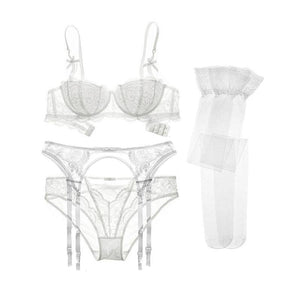 Varsbaby sexy lace push up underwear set half cup bra+panties+garter+stockings 4 pcs for women - Cupid's Rack