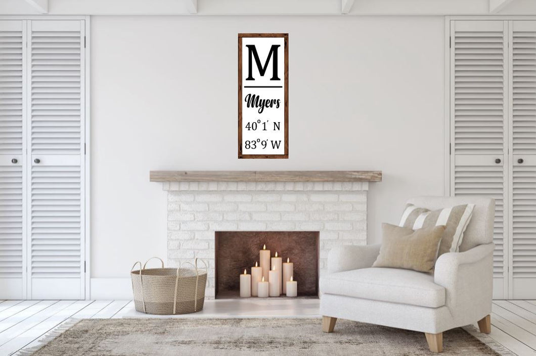 Monogram with Latitude and Longitude - Creative Art Bar