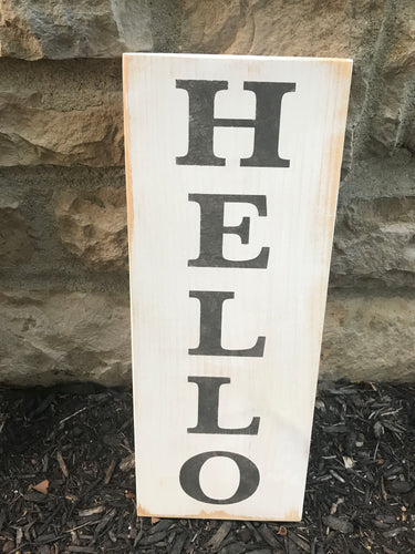 Hello Vertical Sign White
