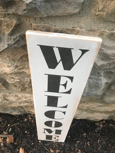 Welcome Vertical Sign White