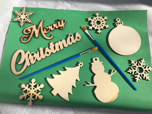 At Home Christmas Wood Cut-Out Ornament Painting