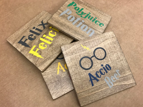 At Home Wood Coaster Set - Creative Art Bar