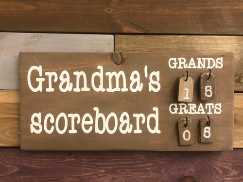 Grandma Scoreboard Walnut Wood Sign