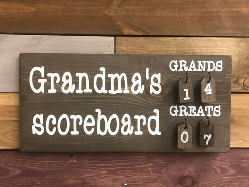 Grandma Scoreboard Espresso Wood Sign