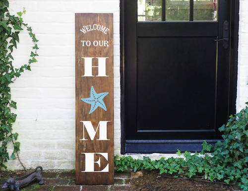 Porch Sign Welcome to our Home Starfish