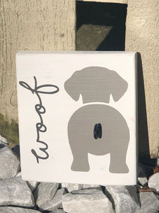 Woof Wood Sign with Hook