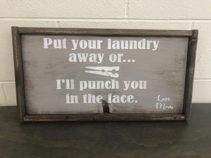 Clearance Laundry Wood Sign