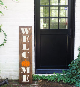 Porch Sign Welcome Pumpkin