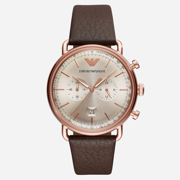 Brown-Leather-Watch-Armani-Analouge