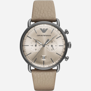 White-Leather-Watch-Armani-Analouge