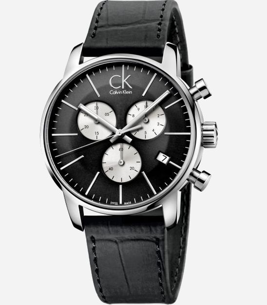 Black-Leather-Watch-Calvin-Klein-Analouge