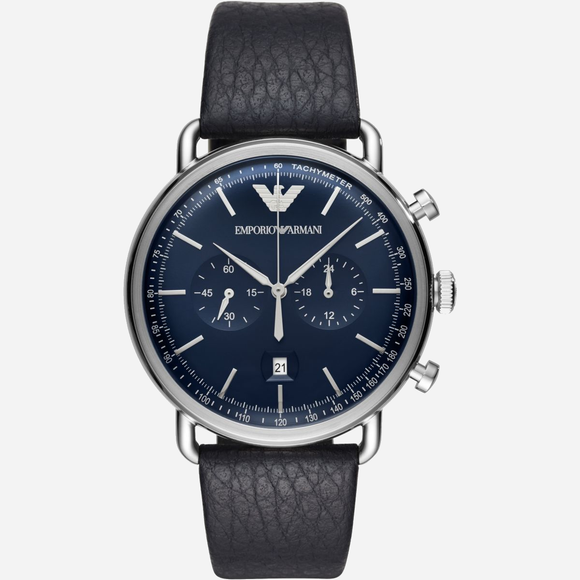 Black-Leather-Watch-Armani-Analouge