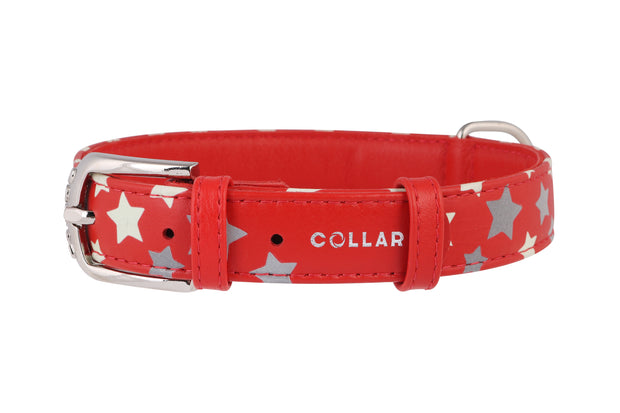 Collar Glamour Flat Leather Collar with Noctilucent Star Pattern