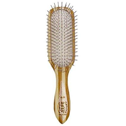 Bass Pin Brush, Medium, Rectangle - 100% Bamboo Wood Handle