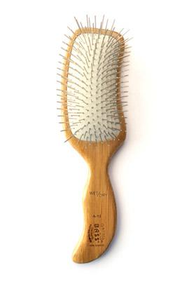 "Bass Standard Pin Paddle Brush, ""S"" Shape - 100% Bamboo Wood Handle"