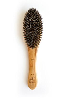 Bass Soft Boar Bristle Brush, Medium, Oval - Bamboo Wood Handle