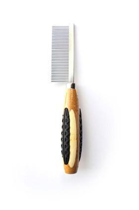 Wide Tooth Metal Pet Comb - 100% Bamboo Wood Handle