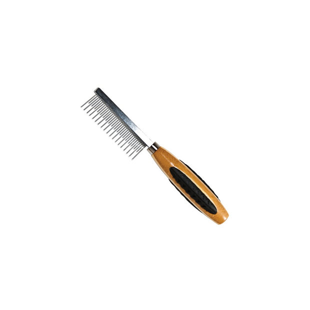 Alternating Short and Long Tooth Metal Pet Comb - 100% Bamboo Wood Handle