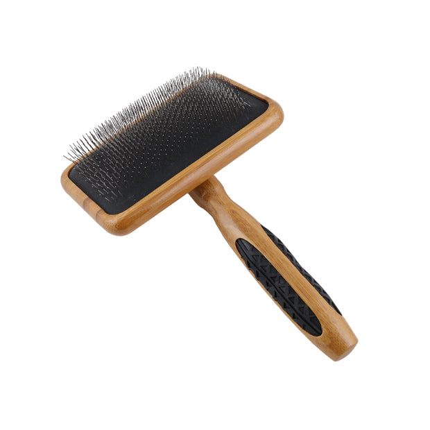 Bass Medium Firm Slicker Brush- 100% Bamboo Wood Handle With Large Rubber Grips