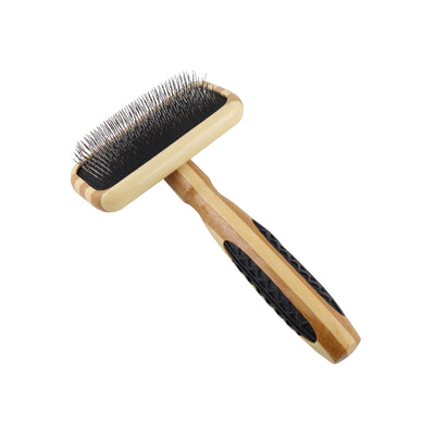 Bass Small Firm Slicker Brush - 100% Bamboo Wood Handle With Rubber Grips