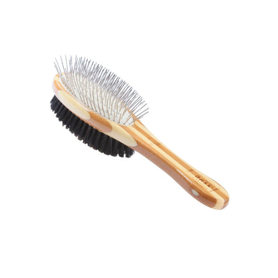 Bass Double Sided Boar Bristle and Wire Pin Brush,  100% Bamboo Handle