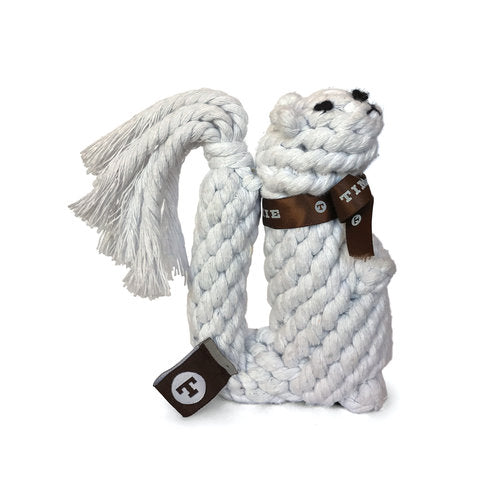 Trinity the White Squirrel (Braided Rope Toy)