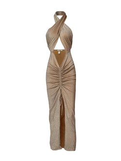 Long Dress in Gold Color