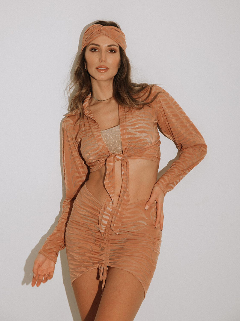 Beach Skrit LENA in caramel color