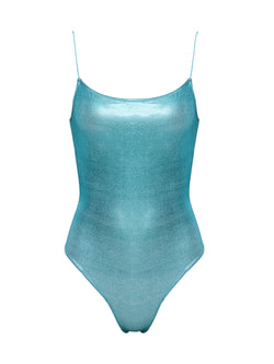 One piece swimsuit metallic blue