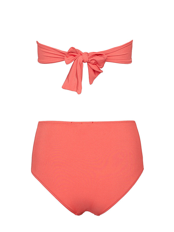 TWO PIECE SWIMSUIT VITORIA IN CORAL COLOR WITH CRYSTALS