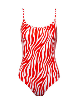 One Piece Swimsuit NINA In Red And White