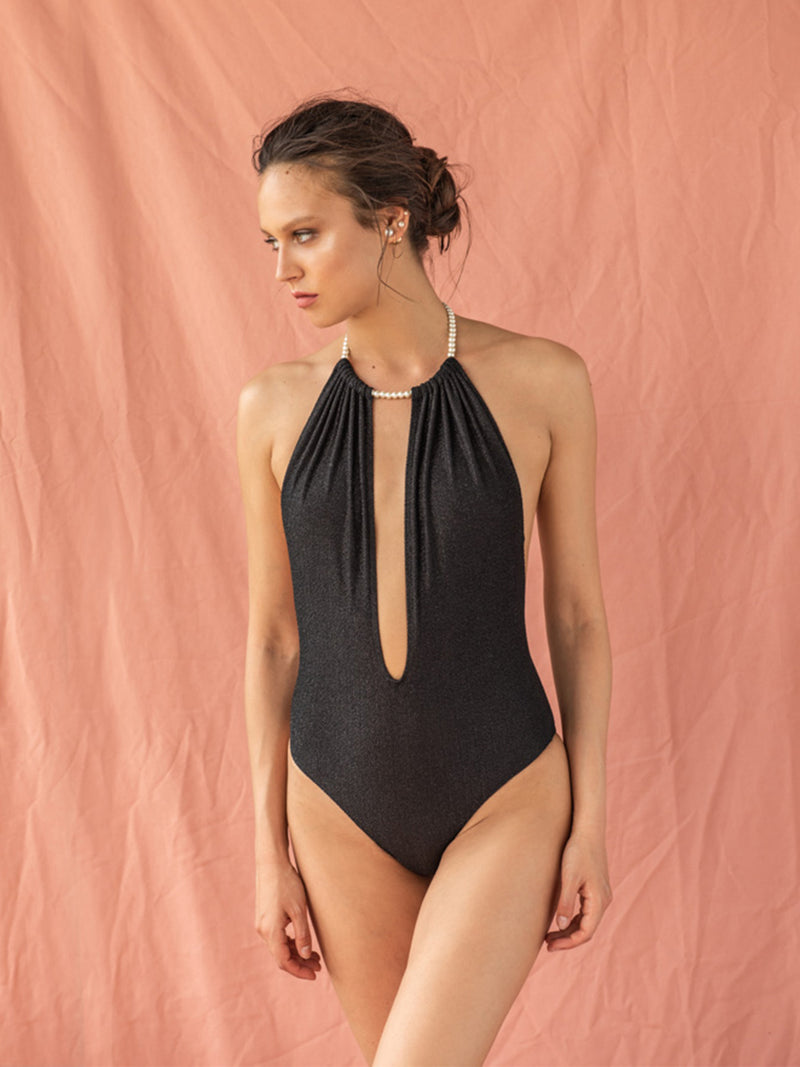 One Piece Swimsuit Linda In Black Color