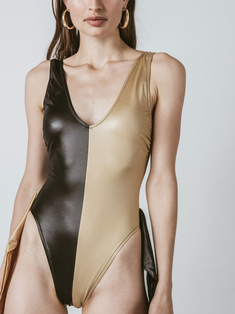one piece swimsuit in black and gold