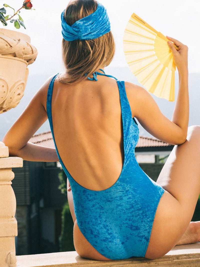 one piece swimsuit blue