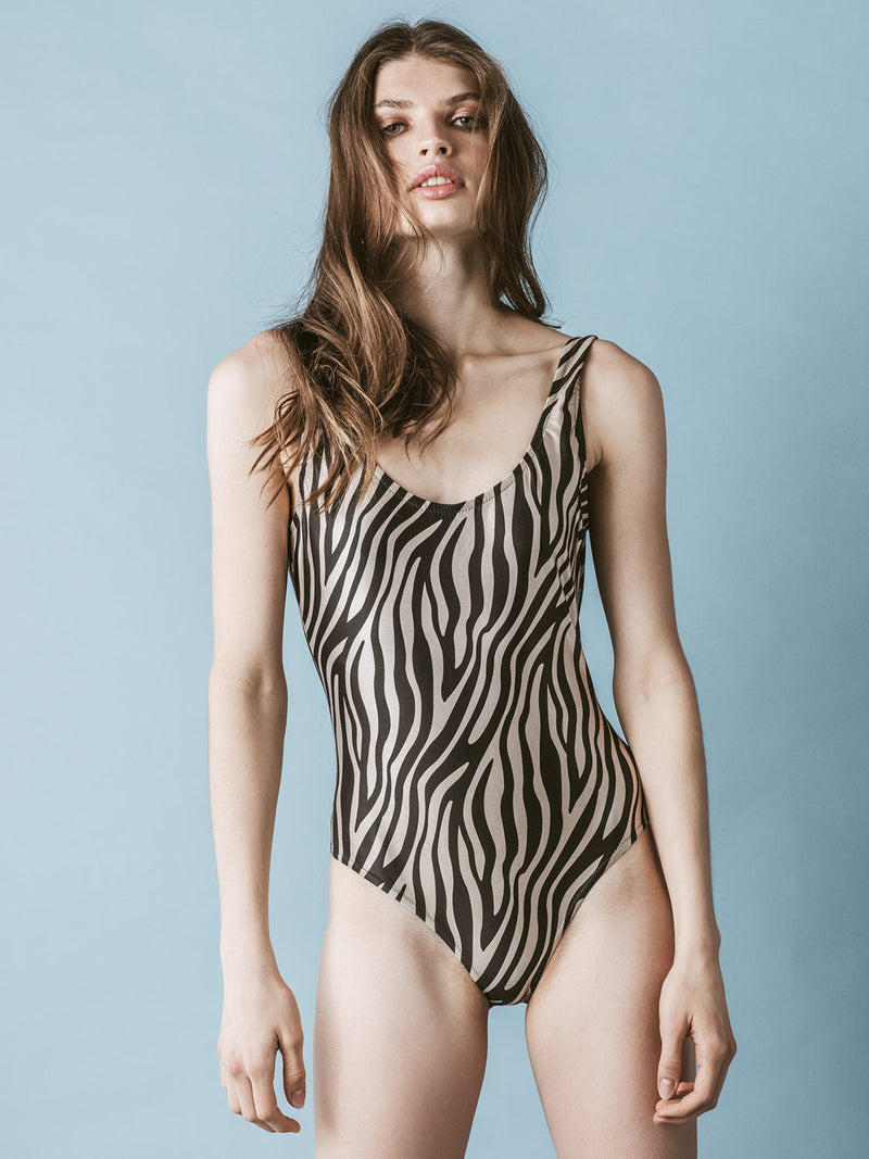 One piece swimsuit zebra