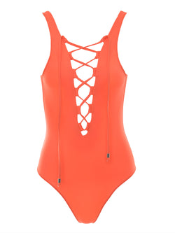 orange one piece swimsuit