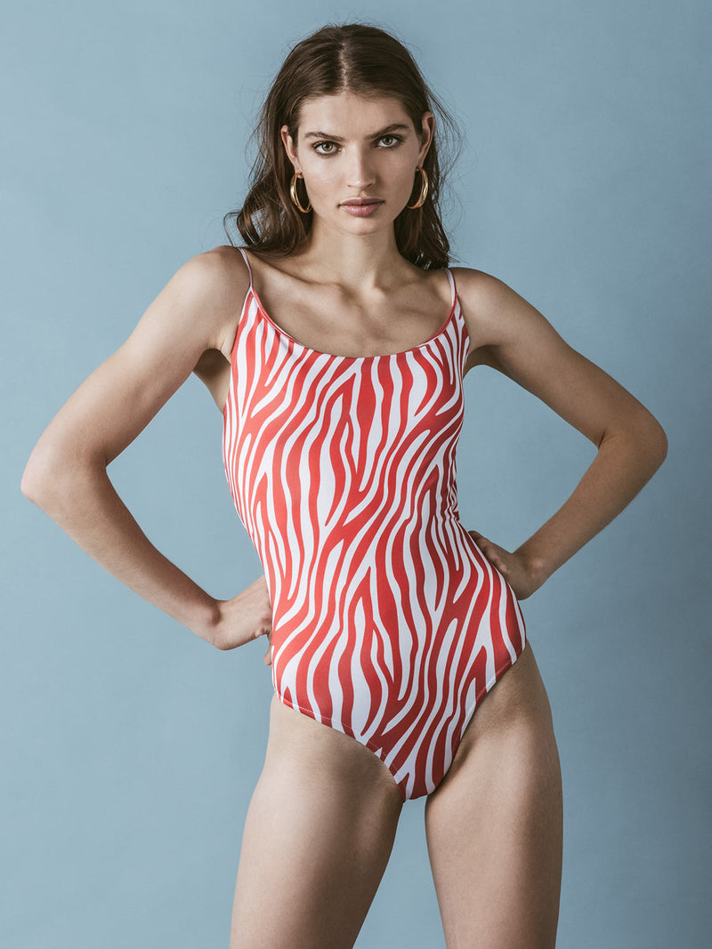 Red and white one piece swimsuit